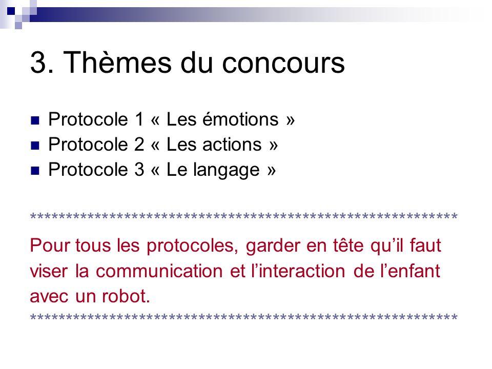 3. Thèmes du concours Protocole 1 « Les émotions »