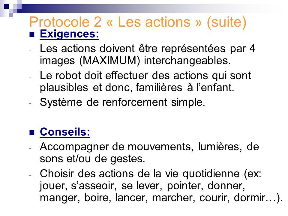 Protocole 2 « Les actions » (suite)