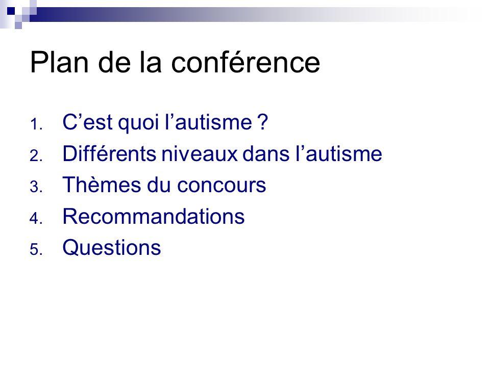 Plan de la conférence C'est quoi l'autisme