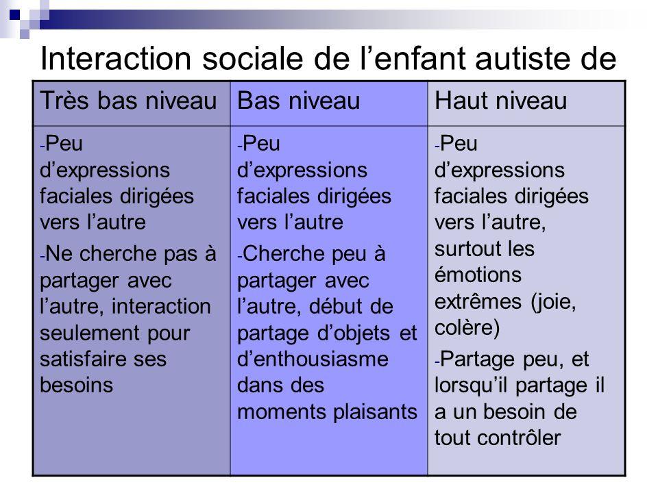 Interaction sociale de l'enfant autiste de
