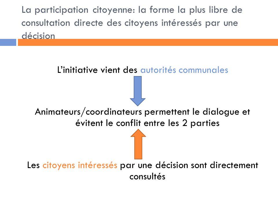La participation citoyenne: la forme la plus libre de consultation directe des citoyens intéressés par une décision