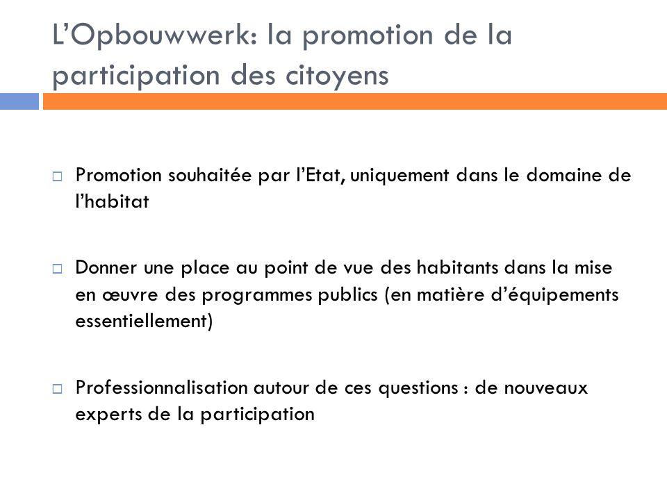L'Opbouwwerk: la promotion de la participation des citoyens