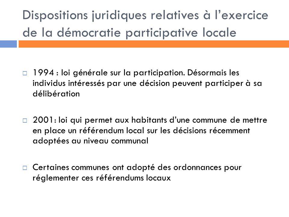 Dispositions juridiques relatives à l'exercice de la démocratie participative locale
