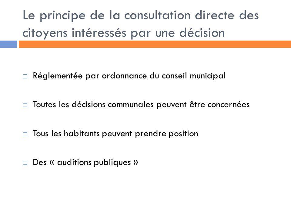 Le principe de la consultation directe des citoyens intéressés par une décision