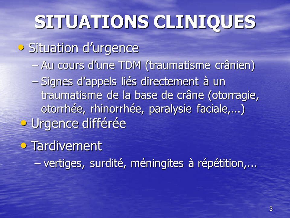 SITUATIONS CLINIQUES Situation d'urgence Urgence différée Tardivement