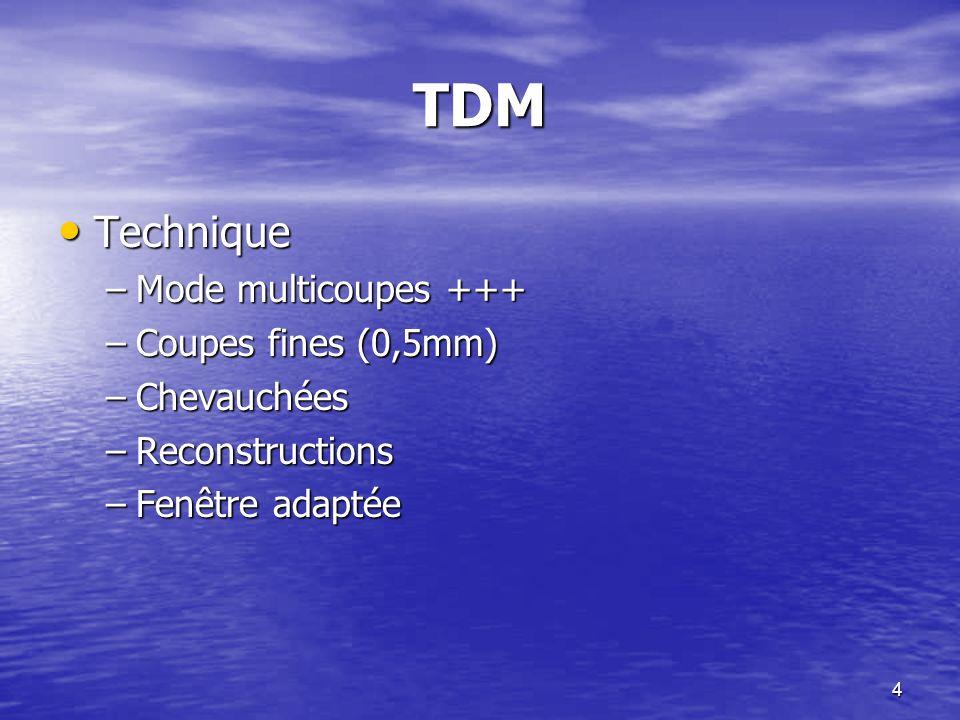 TDM Technique Mode multicoupes +++ Coupes fines (0,5mm) Chevauchées