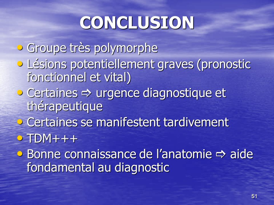 CONCLUSION Groupe très polymorphe