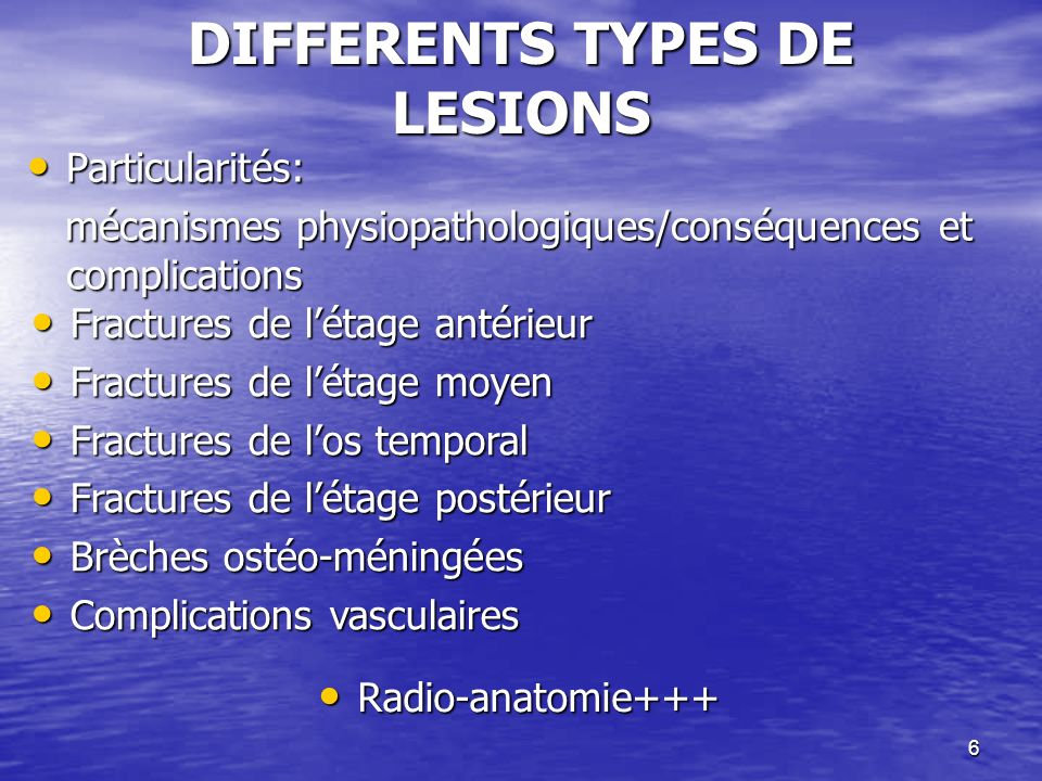 DIFFERENTS TYPES DE LESIONS