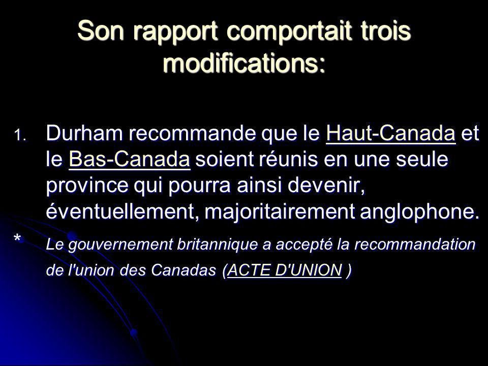 Son rapport comportait trois modifications: