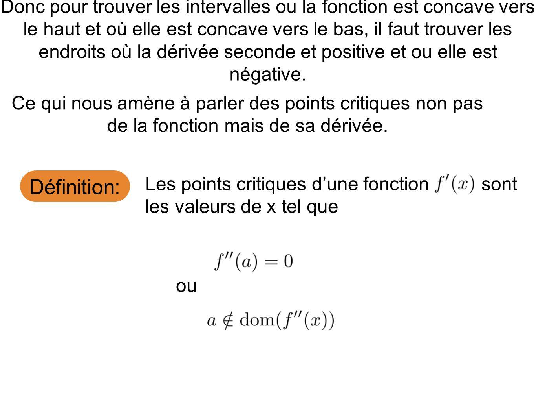 Donc pour trouver les intervalles ou la fonction est concave vers le haut et où elle est concave vers le bas, il faut trouver les endroits où la dérivée seconde et positive et ou elle est négative.