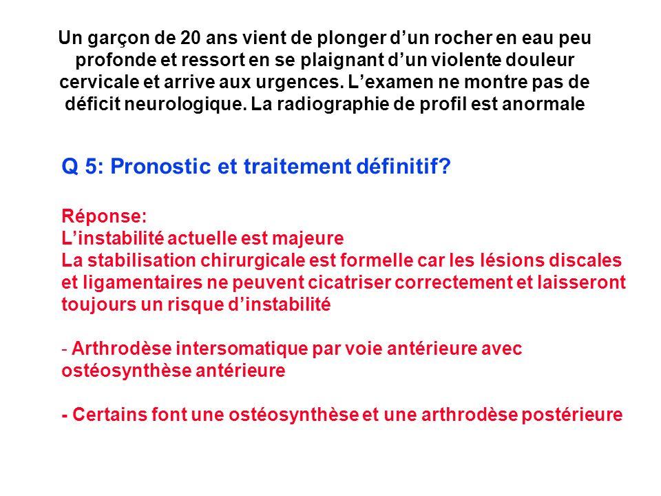 Q 5: Pronostic et traitement définitif