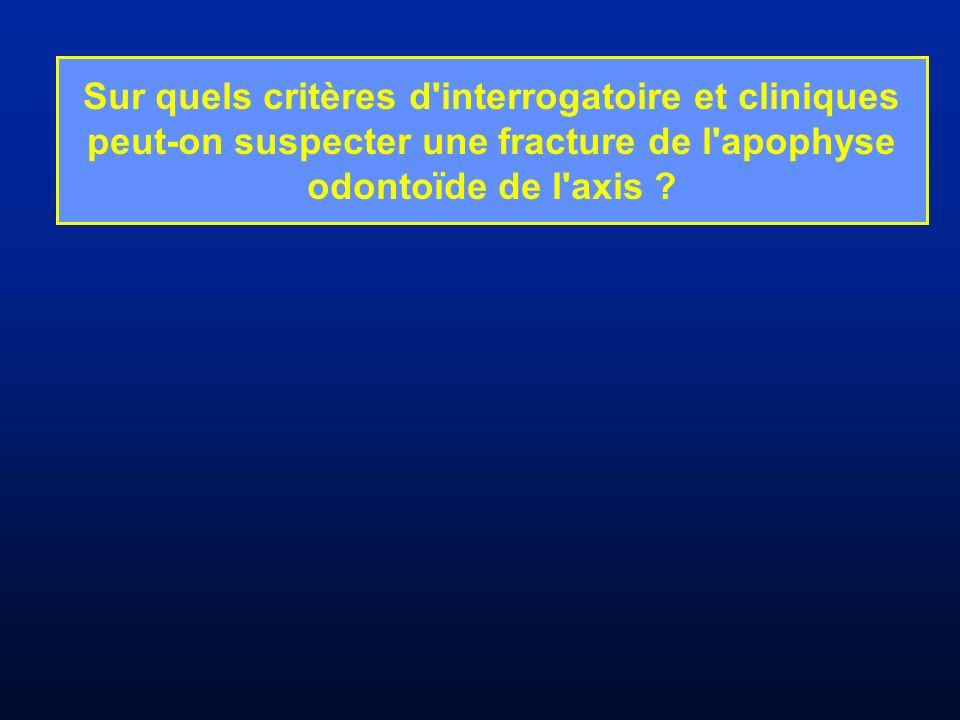 Sur quels critères d interrogatoire et cliniques peut-on suspecter une fracture de l apophyse odontoïde de l axis