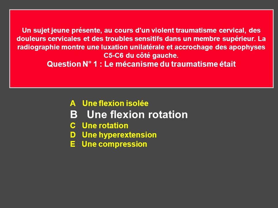 B Une flexion rotation A Une flexion isolée C Une rotation