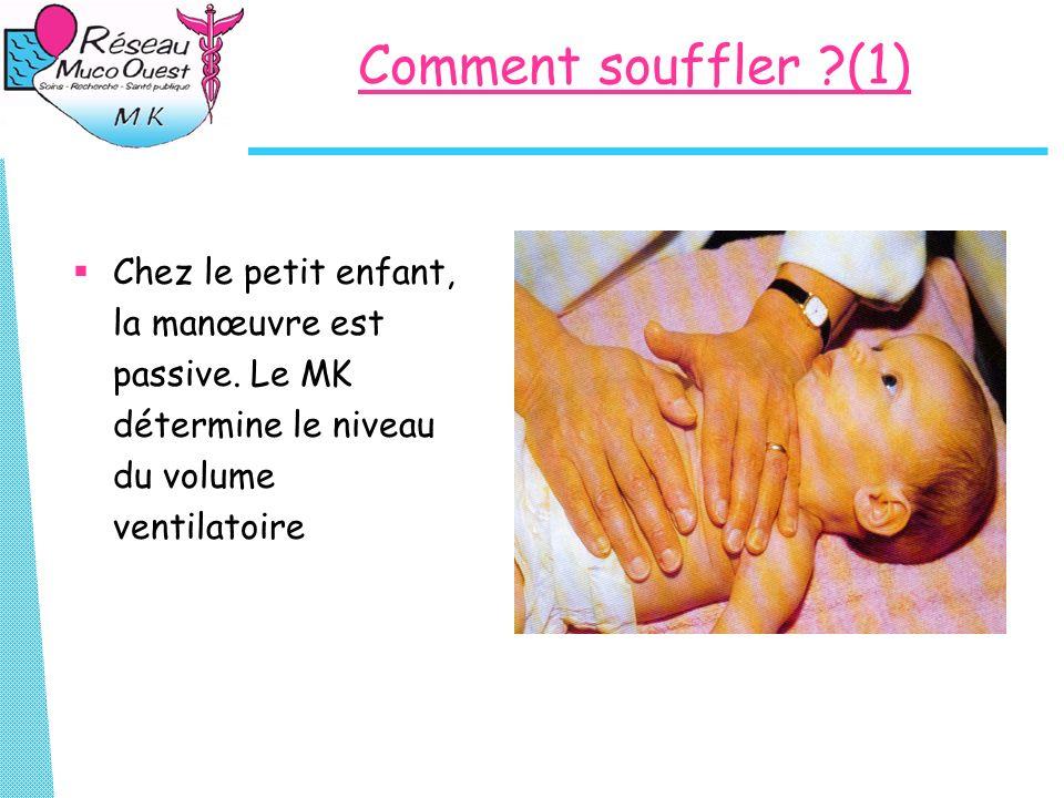 Comment souffler (1) Chez le petit enfant, la manœuvre est passive.