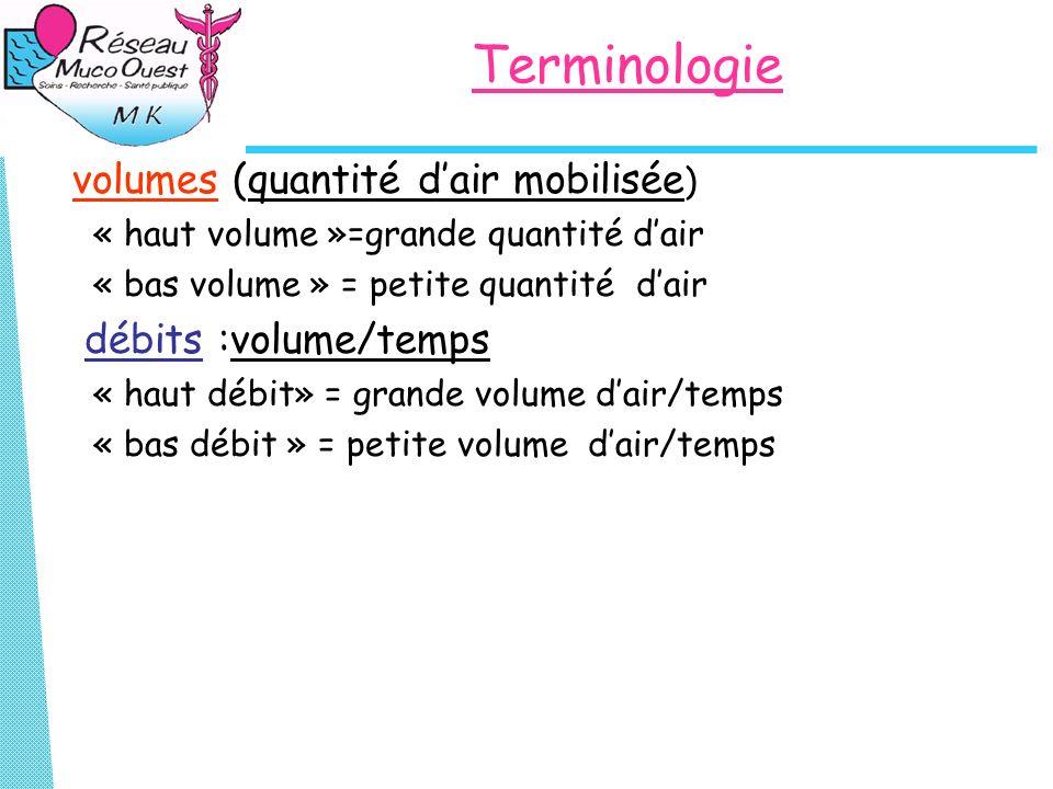 Terminologie volumes (quantité d'air mobilisée) débits :volume/temps