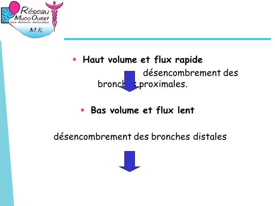 Haut volume et flux rapide désencombrement des bronches proximales.
