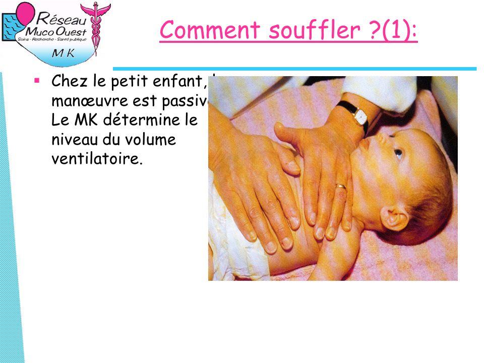 Comment souffler (1): Chez le petit enfant, la manœuvre est passive.