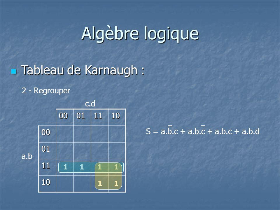 Algèbre logique Tableau de Karnaugh : 2 - Regrouper c.d 00 01 11 10