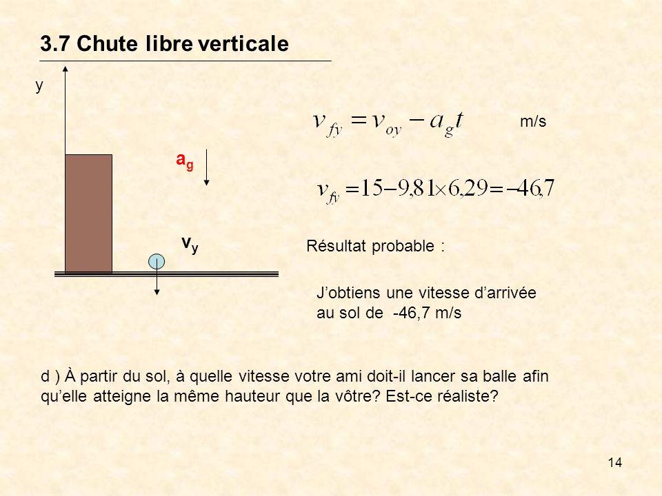 3.7 Chute libre verticale ag vy y m/s Résultat probable :