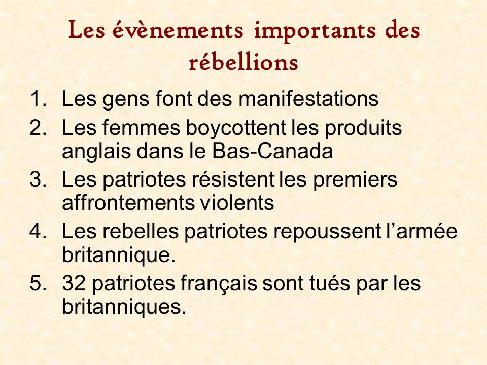 Les évènements importants des rébellions