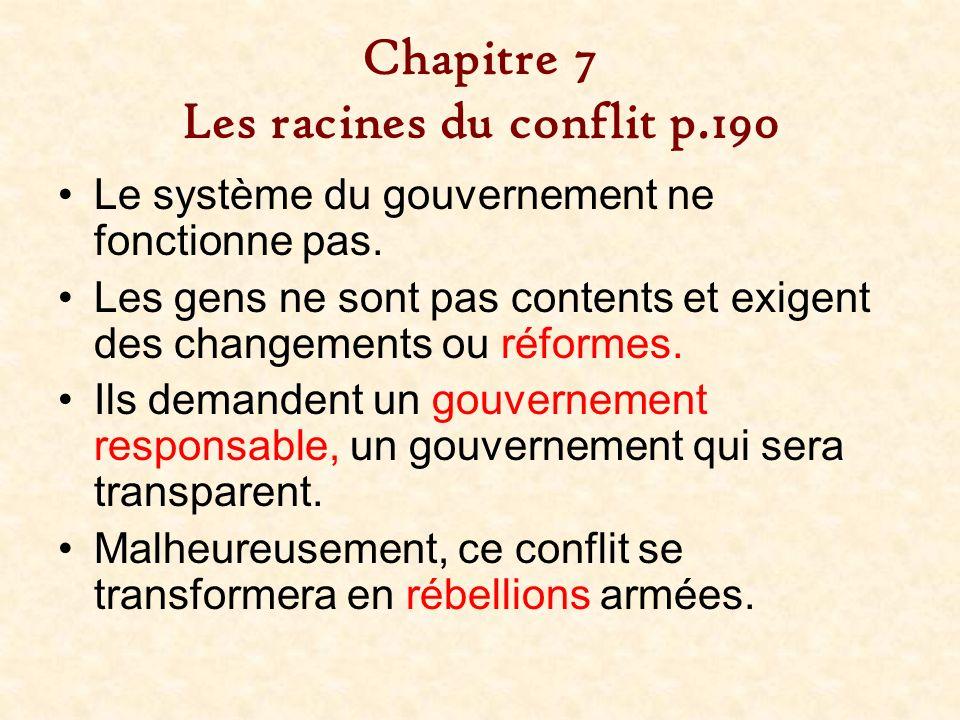 Chapitre 7 Les racines du conflit p.190
