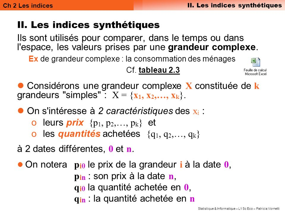 II. Les indices synthétiques