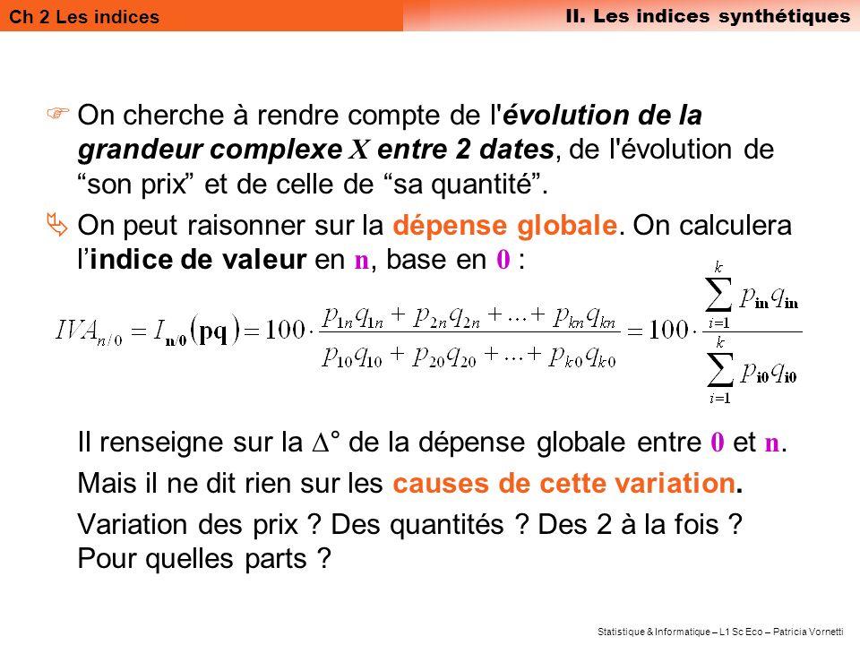 On cherche à rendre compte de l évolution de la grandeur complexe X entre 2 dates, de l évolution de son prix et de celle de sa quantité .