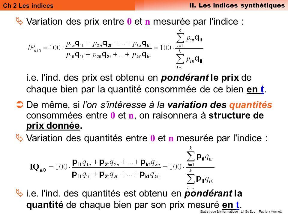 Variation des prix entre 0 et n mesurée par l indice :