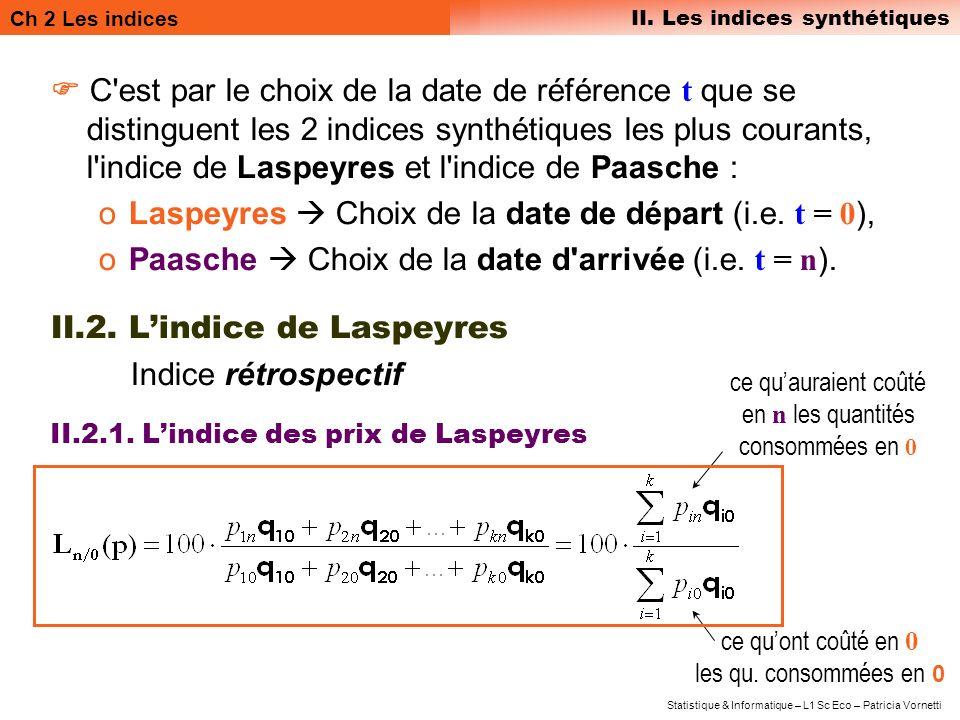 Laspeyres  Choix de la date de départ (i.e. t = 0),