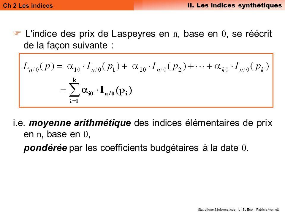  L indice des prix de Laspeyres en n, base en 0, se réécrit de la façon suivante :