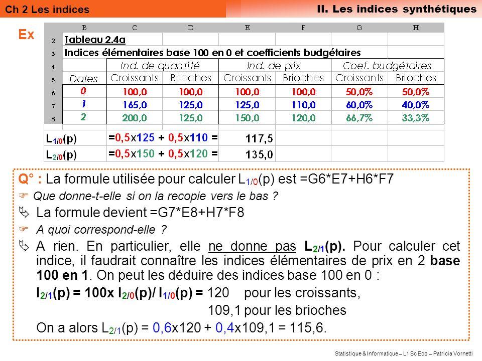 Q° : La formule utilisée pour calculer L1/0(p) est =G6*E7+H6*F7