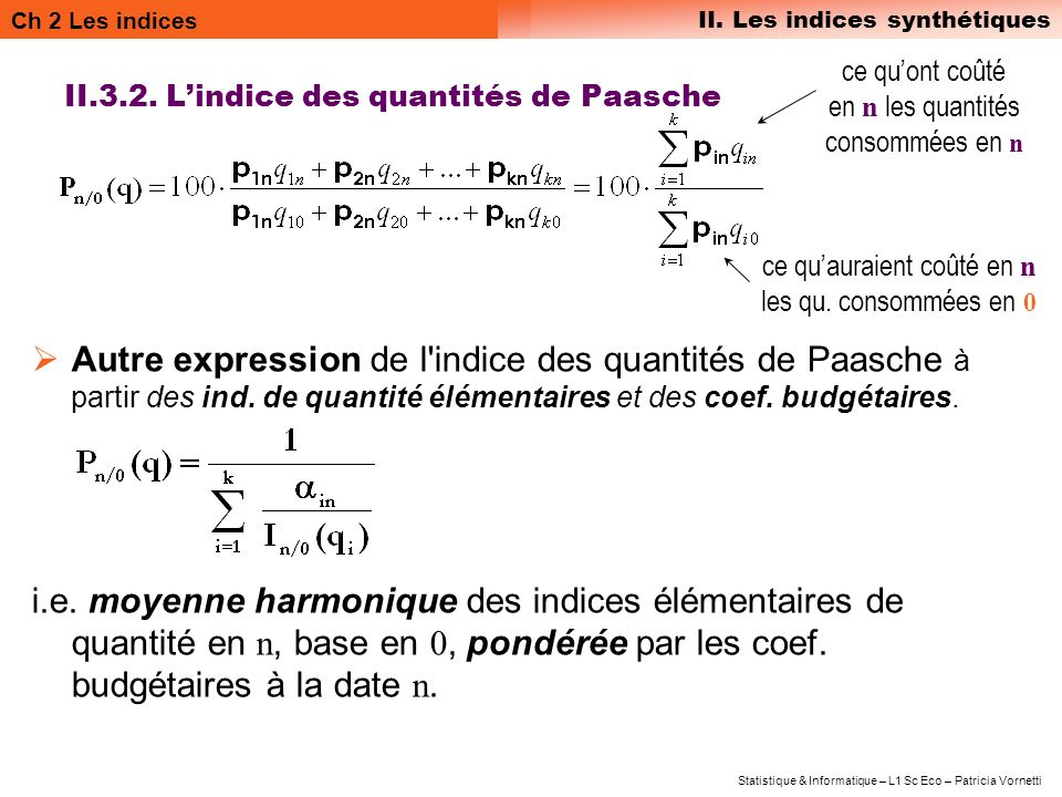 II.3.2. L'indice des quantités de Paasche