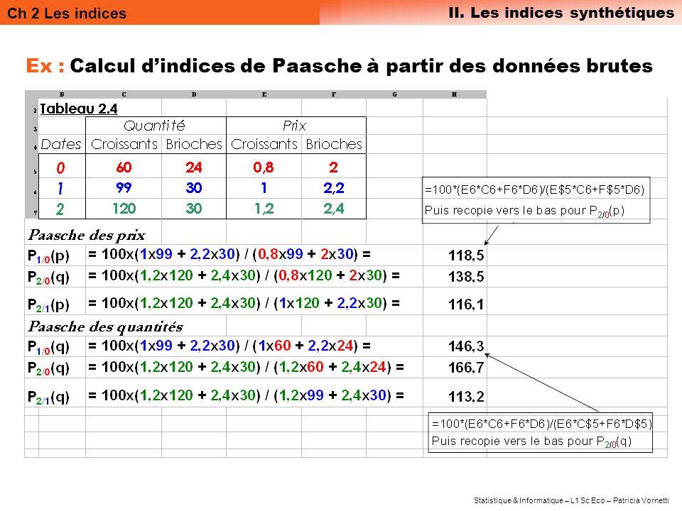 Ex : Calcul d'indices de Paasche à partir des données brutes