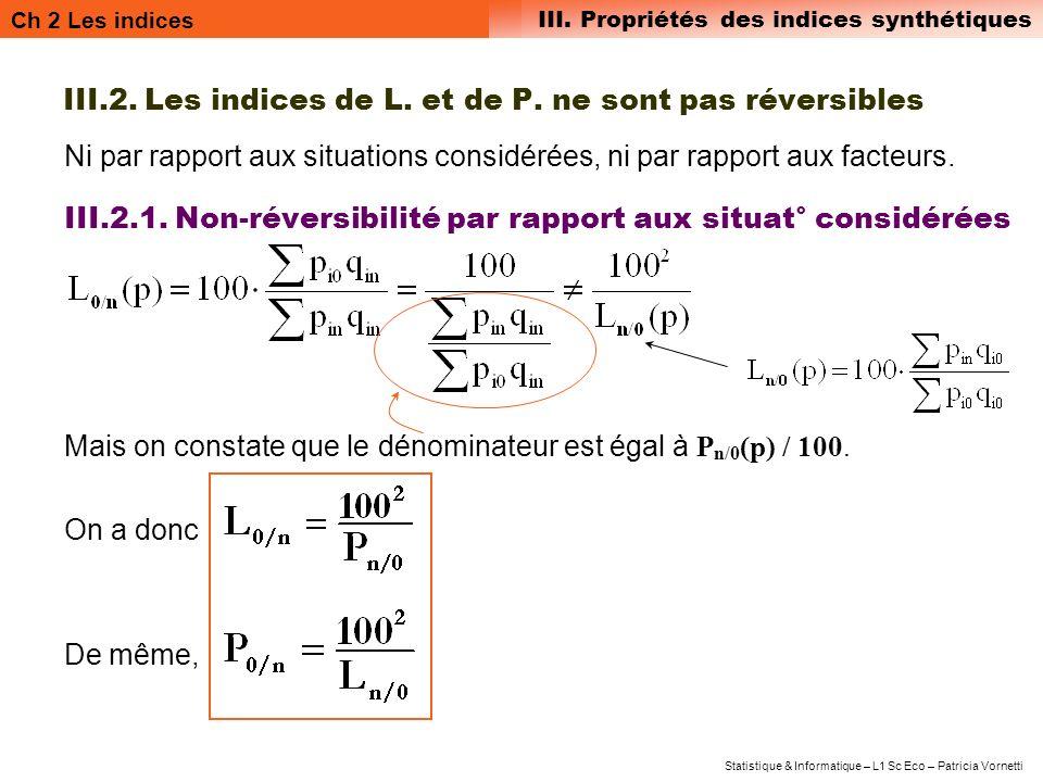 III.2. Les indices de L. et de P. ne sont pas réversibles
