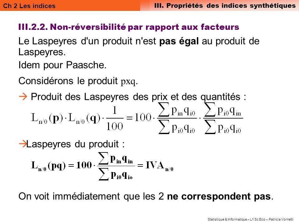 III.2.2. Non-réversibilité par rapport aux facteurs