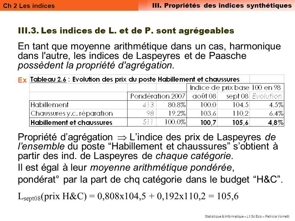 III.3. Les indices de L. et de P. sont agrégeables