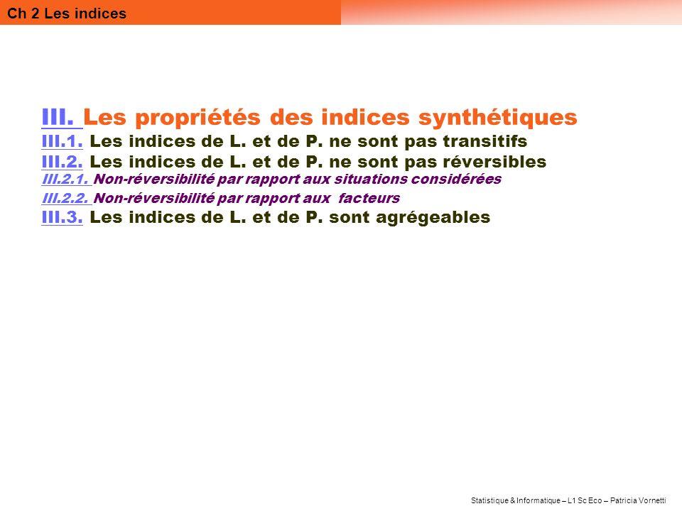 III. Les propriétés des indices synthétiques