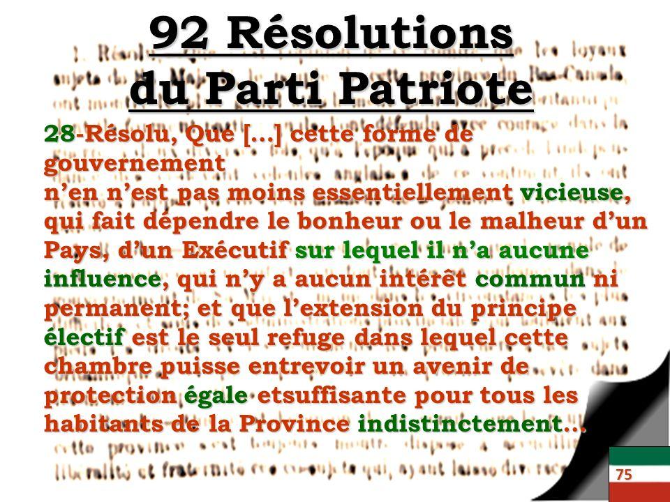 92 Résolutions du Parti Patriote