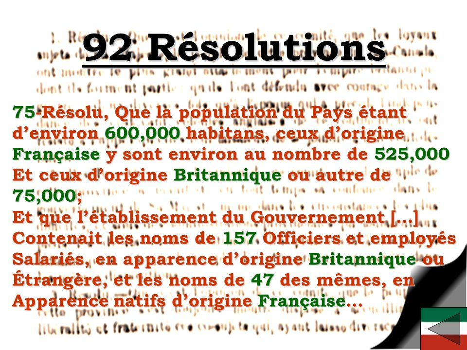 92 Résolutions 75-Résolu, Que la population du Pays étant