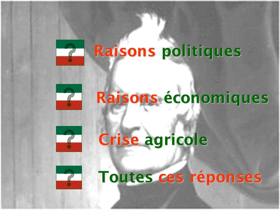Raisons politiques Raisons économiques Crise agricole