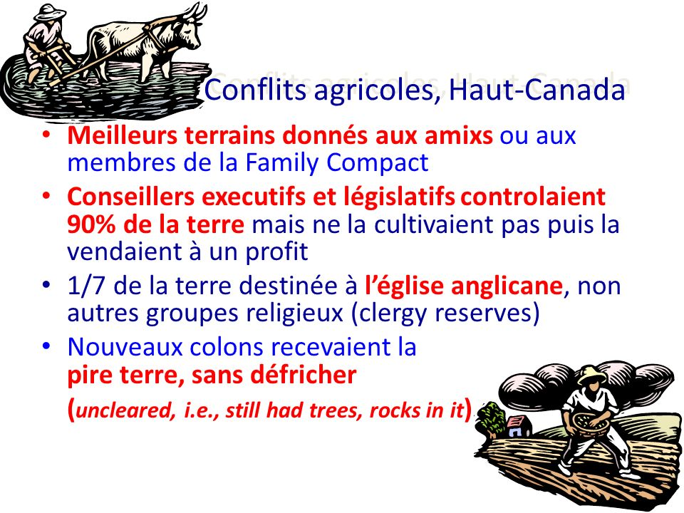 Conflits agricoles, Haut-Canada