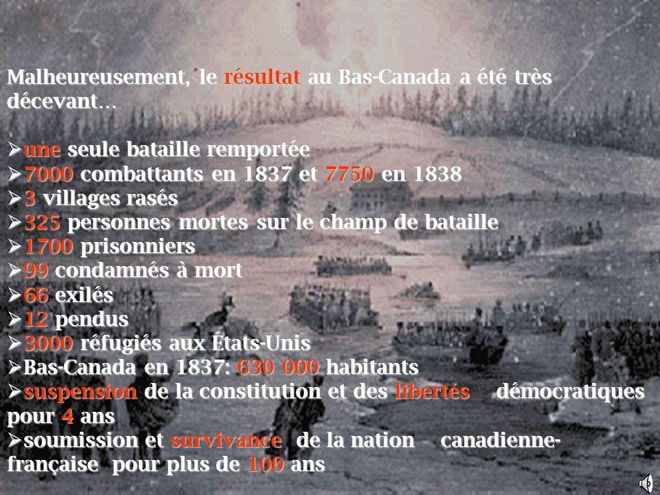 Malheureusement, le résultat au Bas-Canada a été très décevant…