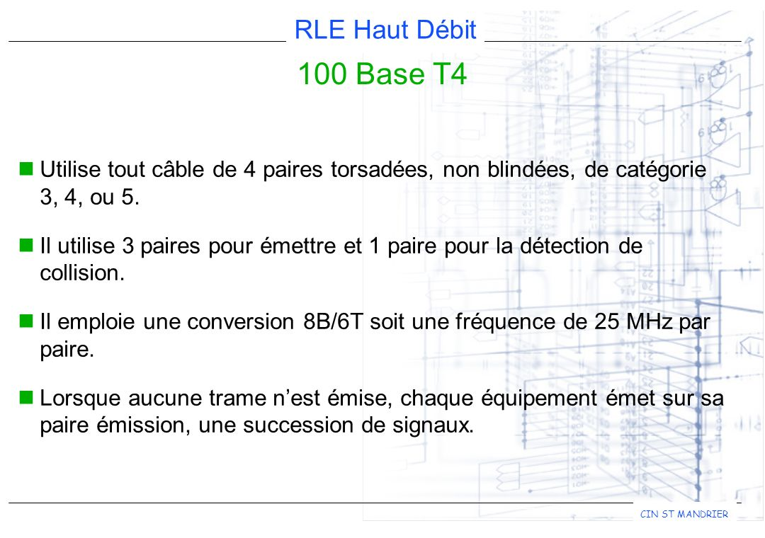 100 Base T4 Utilise tout câble de 4 paires torsadées, non blindées, de catégorie 3, 4, ou 5.
