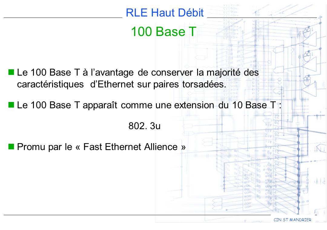 100 Base T Le 100 Base T à l'avantage de conserver la majorité des caractéristiques d'Ethernet sur paires torsadées.