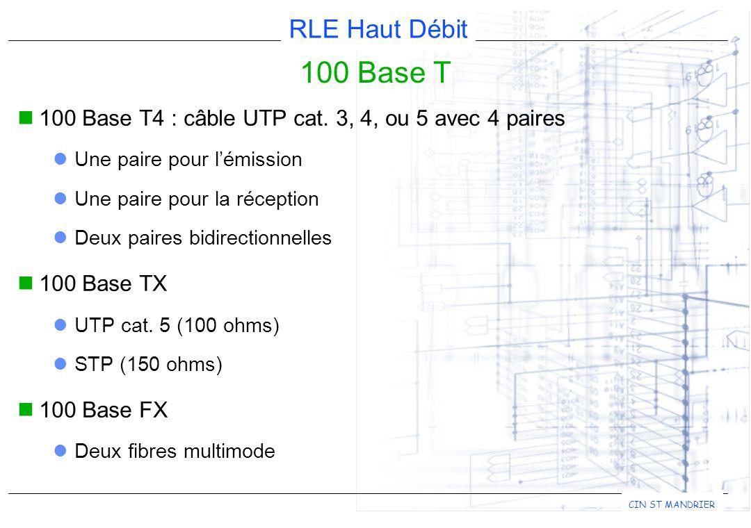 100 Base T 100 Base T4 : câble UTP cat. 3, 4, ou 5 avec 4 paires