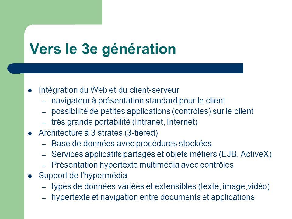 Vers le 3e génération Intégration du Web et du client-serveur