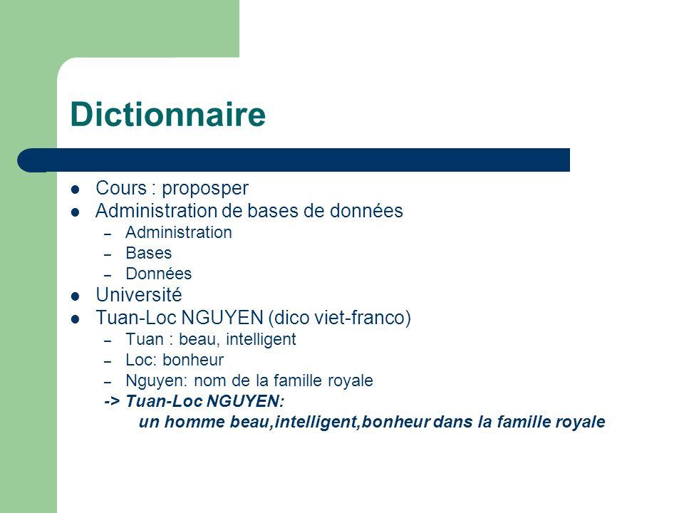 Dictionnaire Cours : proposper Administration de bases de données