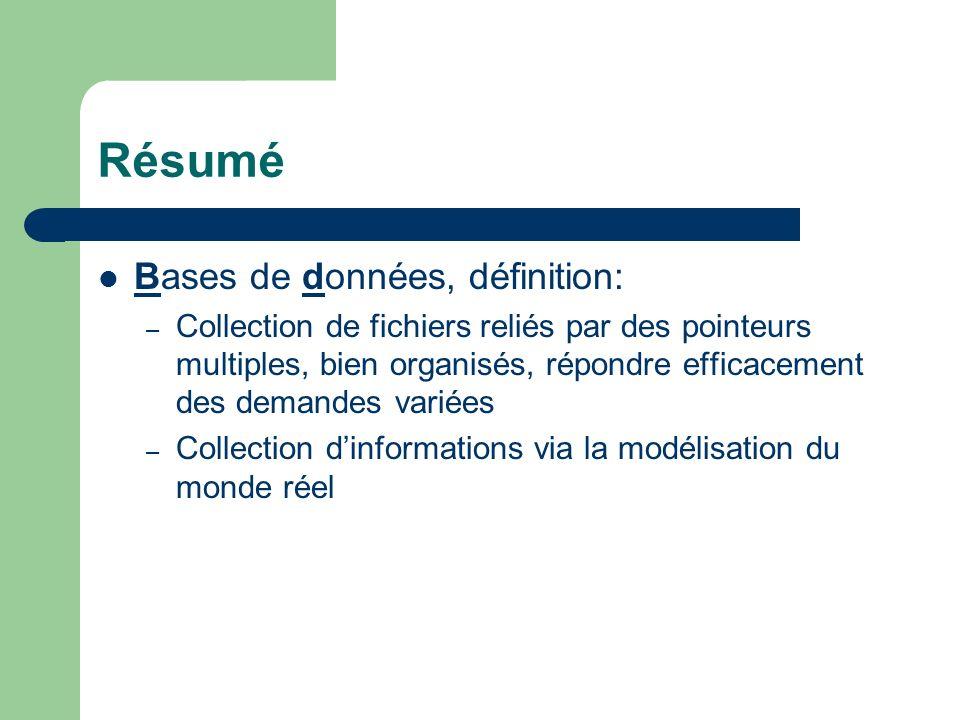 Résumé Bases de données, définition: