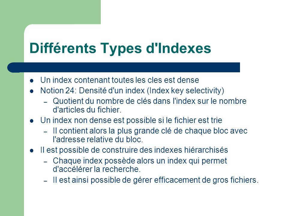 Différents Types d Indexes