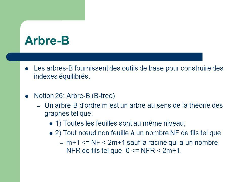 Arbre-B Les arbres-B fournissent des outils de base pour construire des indexes équilibrés. Notion 26: Arbre-B (B-tree)